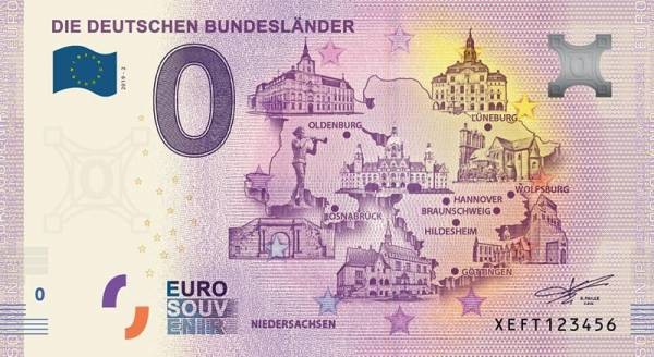 0-Euro-Banknote Bundesland Niedersachsen 2019