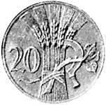 20 Haleru Böhmen/Mähren Ähren/Sichel 1940-1944 Sehr schön