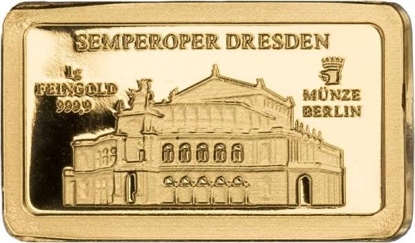 1 Gramm Goldbarren Deutsche Wahrzeichen Semperoper Dresden