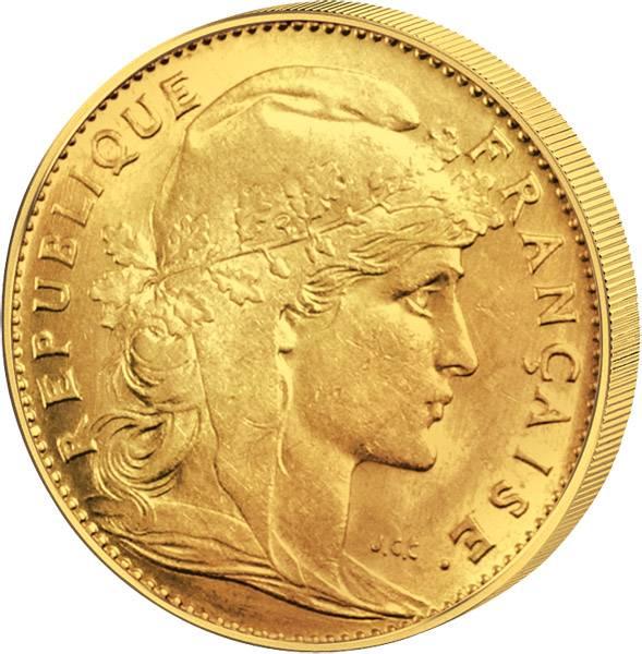 10 Franc Frankreich Gallischer Hahn 1899-1914 Sehr schön