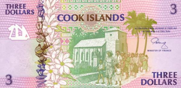 3 Dollars Banknote Cook-Inseln Aitutaki 1992