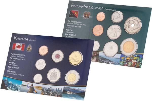Kursmünzen-Set Papua-Neuguinea und Kanada