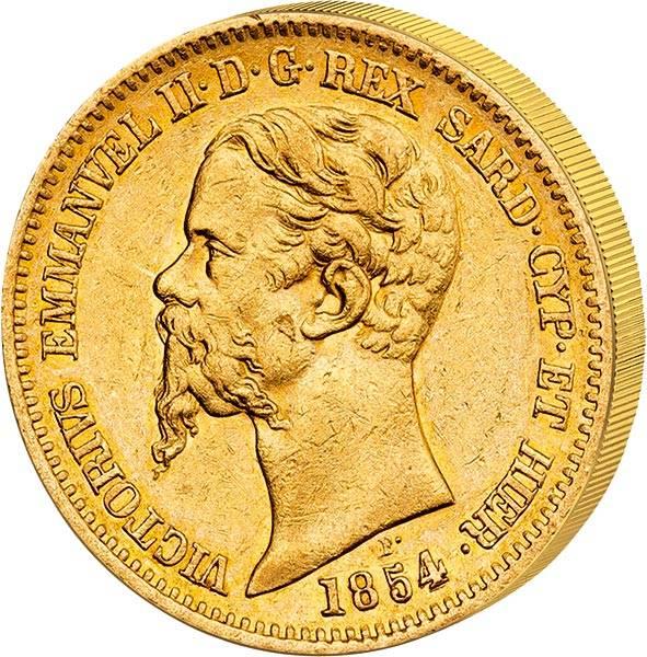 20 Lire Italien König victor Emanuel II. 1850 - 1861