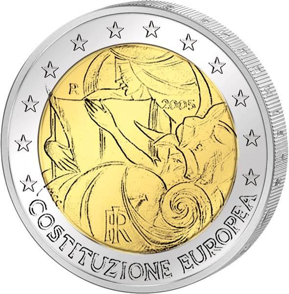 2 Euro Italien 1 Jahr Europäische Verfassung 2005 prägefrisch
