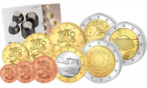 Euro-Kursmünzensatz Finnland 2015 inklusive 3 x 2-Euro-Gedenkmünzen
