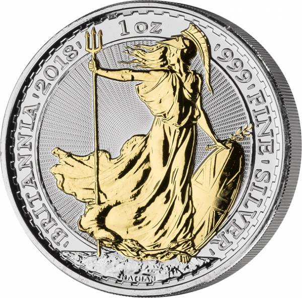 2 Pounds Großbritannien Britannia 2018 mit Gold-Applikation