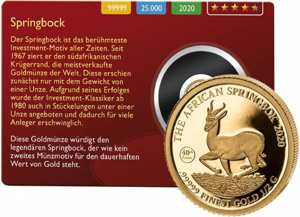 1.000 Francs Gabun Springbock Gold Coin Card 2020