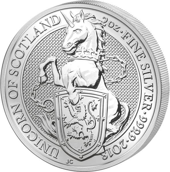 2 Unzen Großbritannien Queens Beasts Einhorn 2018