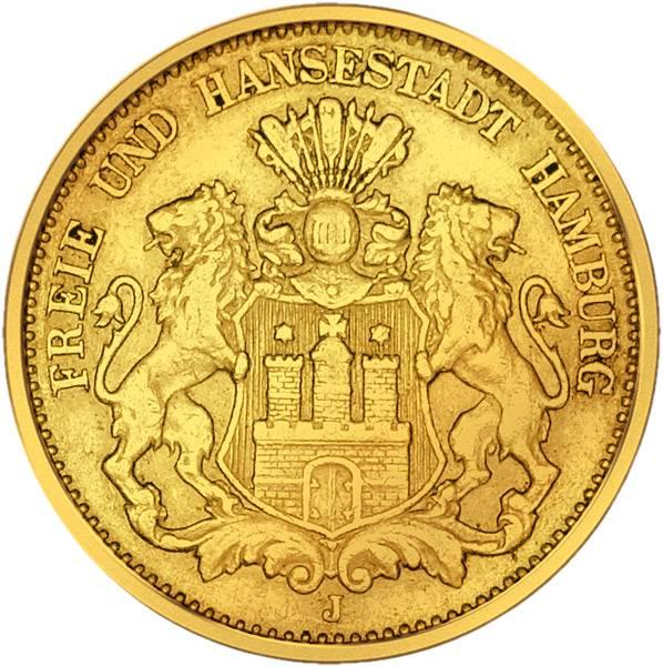 20 Mark Hamburg Stadtwappen kleiner Adler 1875-1889 Sehr schön
