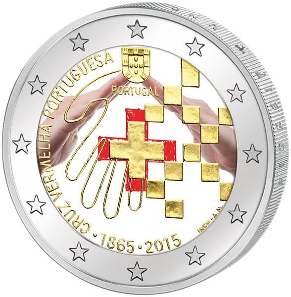 2 Euro Portugal 150 Jahre Portugiesisches Rotes Kreuz mit Farb-Applikation 2015 prägefrisch
