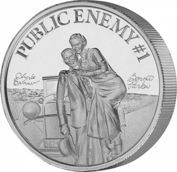 Silbermedaille Staatsfeind Nummer 1 Bonnie und Clyde