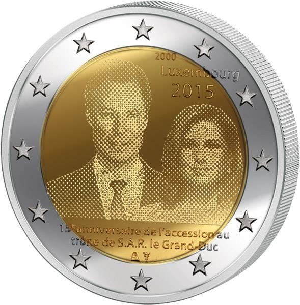 2 Euro Luxemburg 15 Jahre Thronbesteigung von Großherzog Henri 2015   prägefrisch