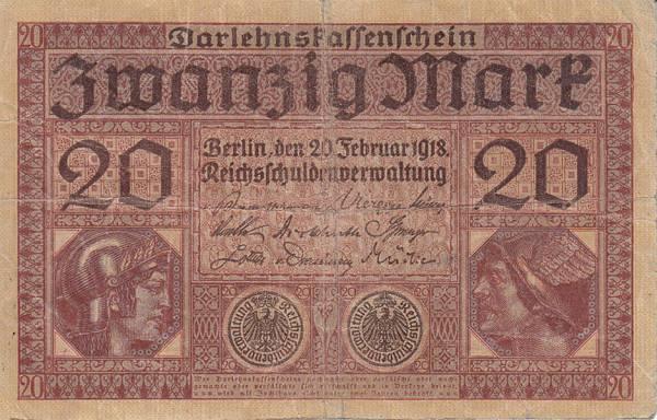20 Mark Banknote Deutsches Reich 1918