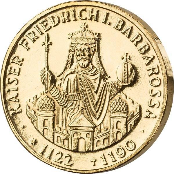 10 DM BRD Kaiser Friedrich Barbarossa 1990 vollvergoldet