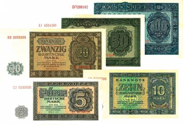 5 - 100 Mark Banknoten DDR 1948