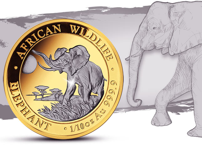 Somalia-Elefant mit Platin-Veredelung