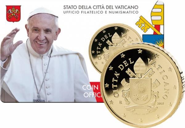 50 Cent Vatikan Papst Franziskus Coin Card 2018
