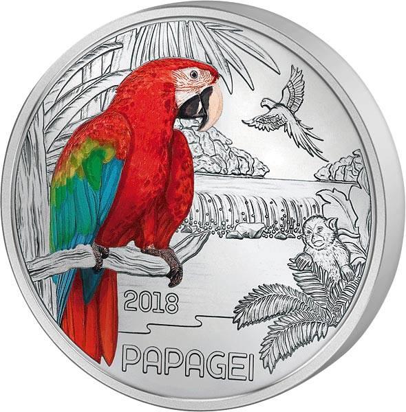 3 Euro Österreich Tier-Taler Papagei 2018