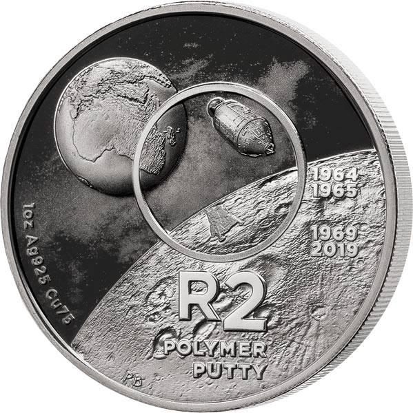 2 Rand Südafrika 50 Jahre Mondlandung Polymer Putty 2019
