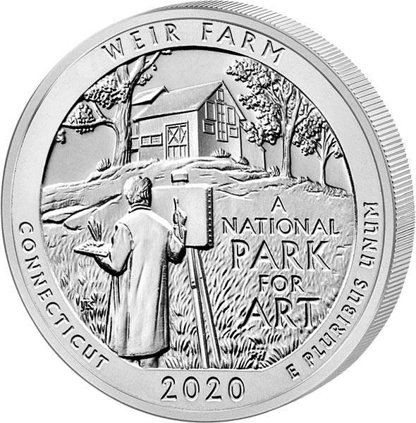 Quarter Dollar 25 Cents USA Connecticut Weir Farm National Historic Site 2020