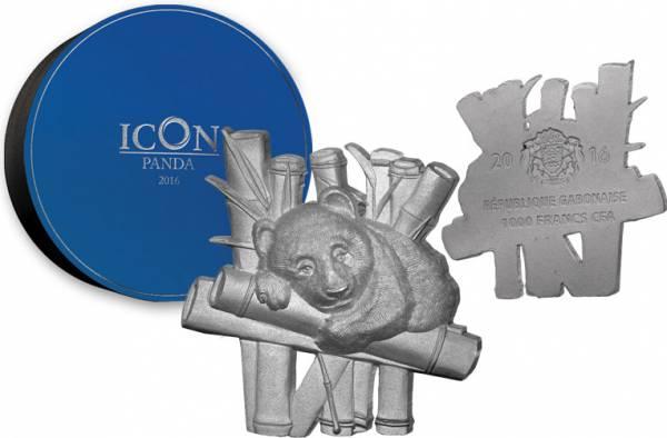 1.000 Francs Gabun Vollskulptur Icon Panda - FOTOMUSTER