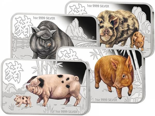 4 x 1 Unze Silber Tuvalu Lunar-Set Jahr des Schweins 2019