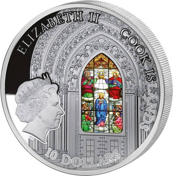 10 Dollars Cook-Inseln Kathedrale von Zagreb Maria-Himmelfahrt-Fenster 2015 Prooflike
