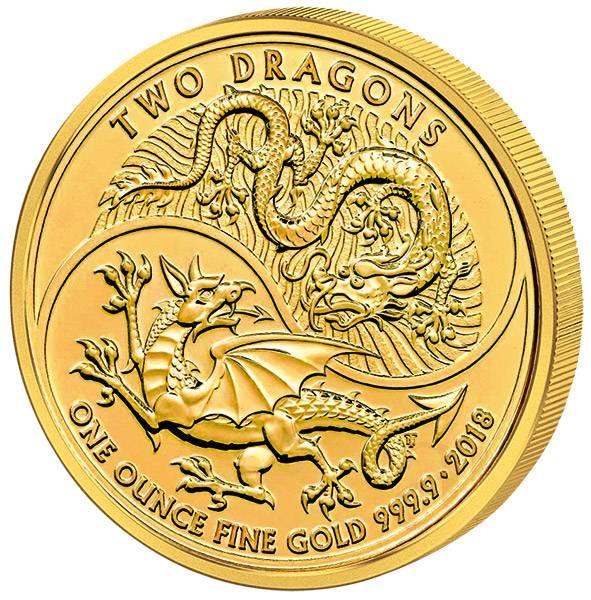 1 Unze Gold Großbritannien Zwei Drachen 2018