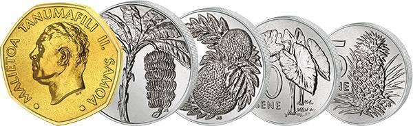 5 Sene - 1 Tala Samoa 1974 - 2006