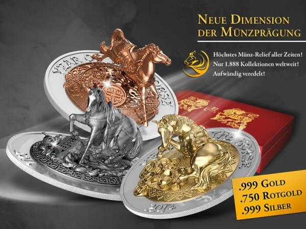 3 x 500 Francs Ruanda Jahr des Pferdes Prestige Set 2014 Stempelglanz