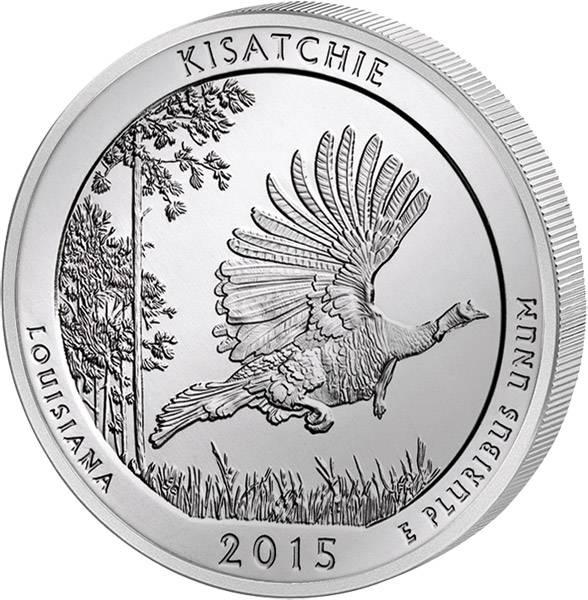 Quarter Dollar USA Louisiana Kisatchie National Forest 2015 prägefrisch