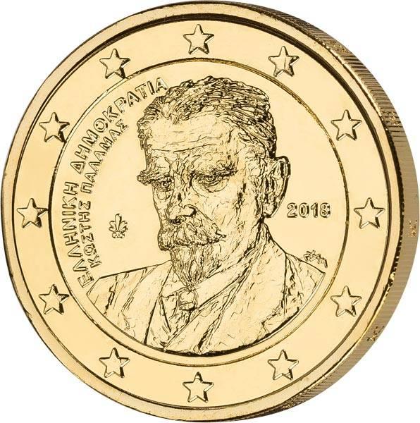 2 Euro Griechenland 75. Todestag von Kostis Palamas 2018 vollvergoldet