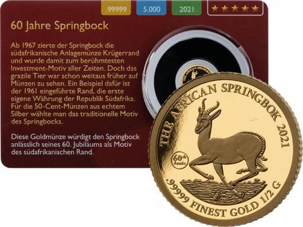 1000 Francs Gabun Springbock Gold Coin Card 2021