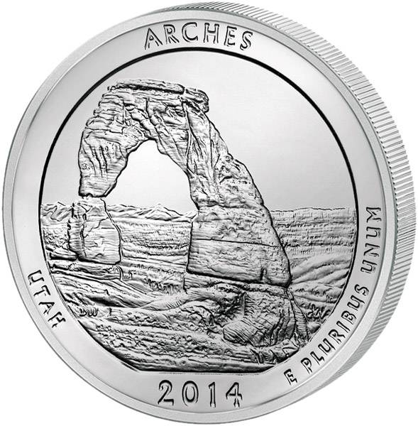 Quarter Dollar USA Utah Arches National Park 2014 prägefrisch