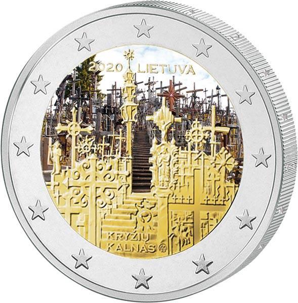 2 Euro Litauen Berg der Kreuze 2020 mit Farb-Applikation
