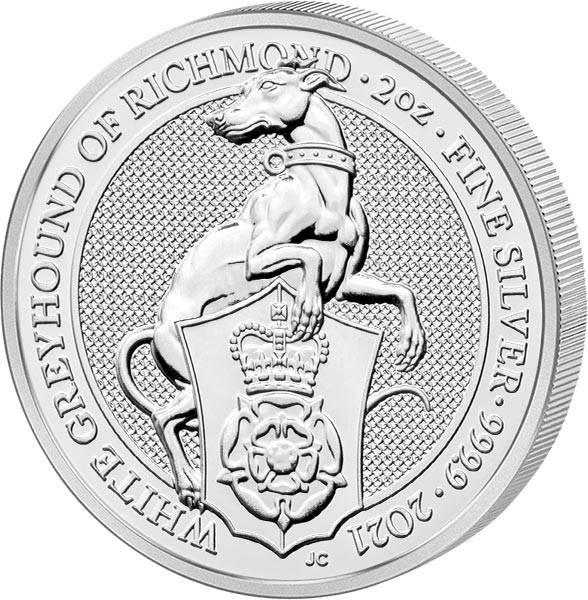 2 Unzen Silber Großbritannien Queens Beasts Windhund von Richmond 2021