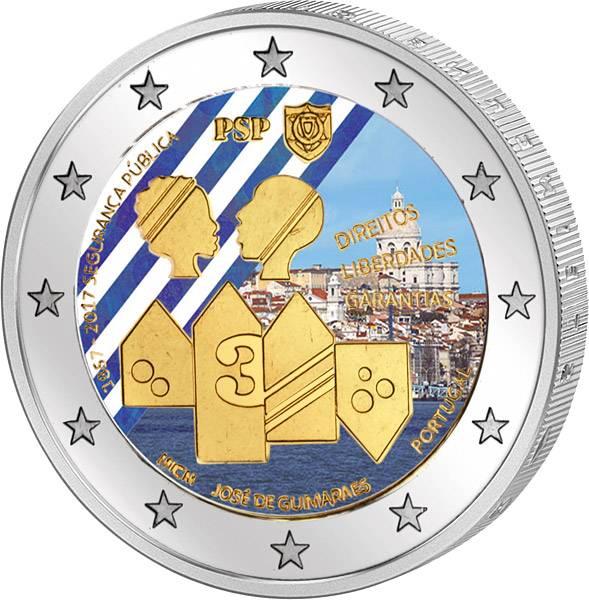 2 Euro Portugal 150 Jahre Sicherheitspolizei 2017 mit Farb-Applikation