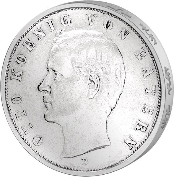 5 Mark Bayern König Otto 1891-1913 Sehr schön