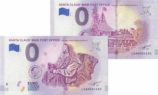 2er-Set 0-Euro-Banknoten Finnland Santa Claus+ Main Post Office 2018
