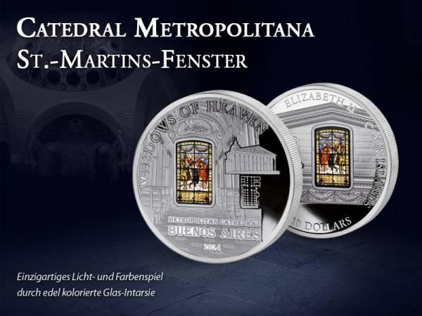 10 Dollars Cook-Inseln Catedral Metropolitana St.-Martins-Fenster 2014 Prooflike