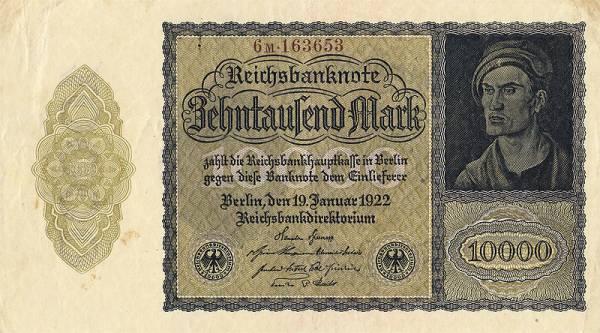 10.000 Mark  Banknote Weimarer Republik Dürers junger Mann 1922 zirkuliert