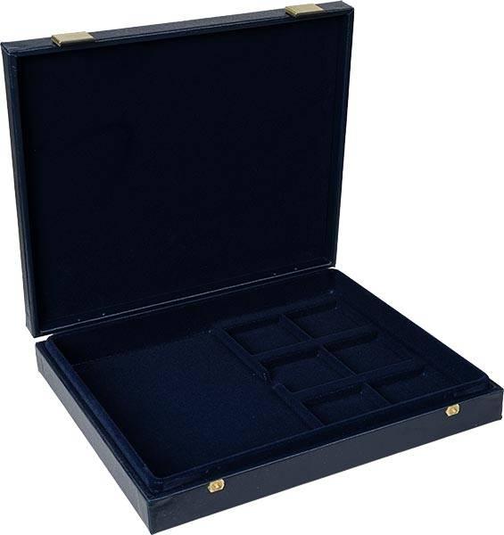 Blaue Münzkassette mit Quadrumkapsel-Aussparungen