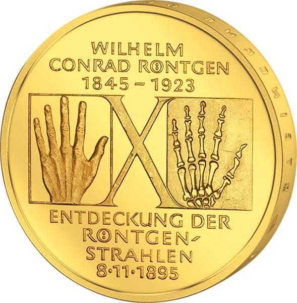 10 DM BRD Wilhelm Conrad Röntgen 1995 vollvergoldet
