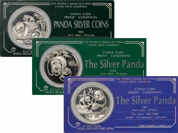 3 x 10 Yuan China Die ersten 3 Silberpandas 1983-1985