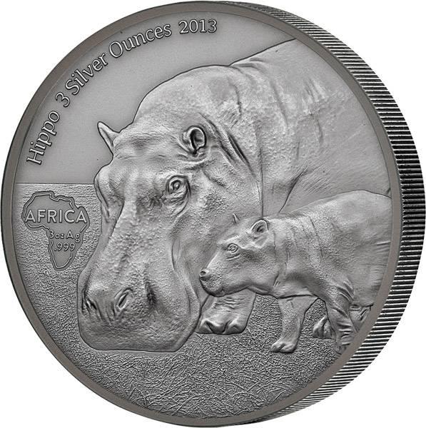 3 Unzen Kongo Nilpferd 2013  Antik-Finish
