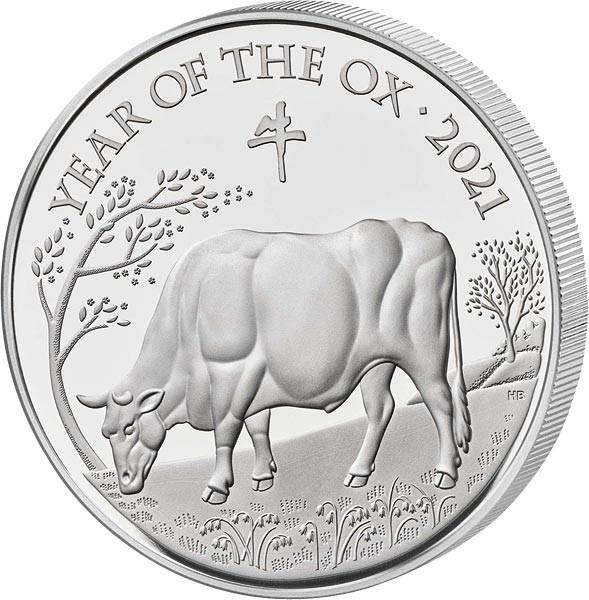 1 Unze Silber Großbritannien Jahr des Ochsen 2021