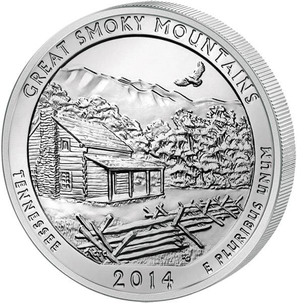 Quarter Dollar USA Tennessee Great Smoky Mountains National Park 2014 prägefrisch