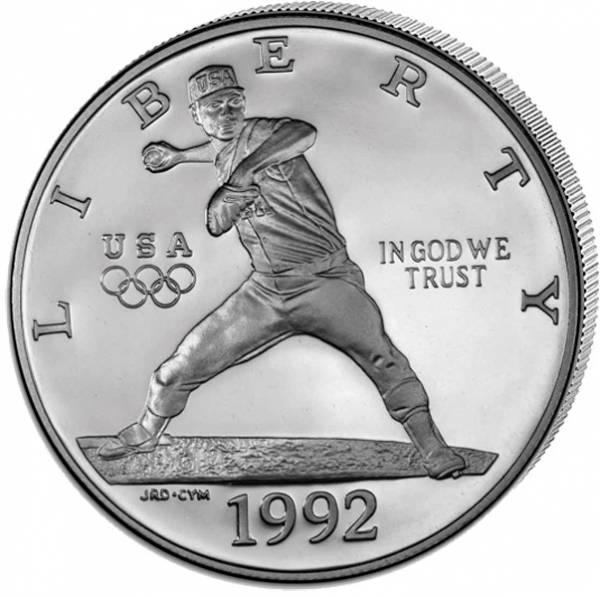 1 Dollar USA Olympiade Barcelona Baseball 1992 Polierte Platte (PP)