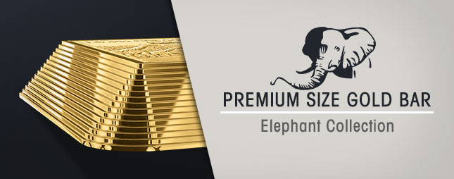 Premium Size Gold Bar - Elephant Collection