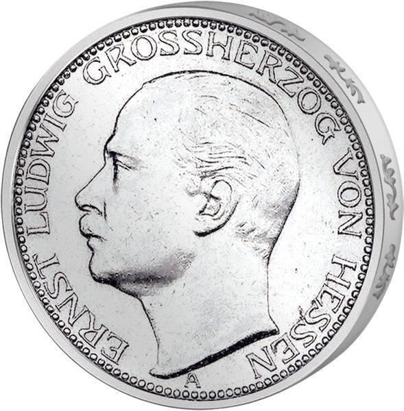 3 Mark Hessen Großherzog Ernst Ludwig 1910 ss-vz